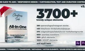 AE脚本+PR模板:3700种文字标题排版设计LOGO图形元素音效转...
