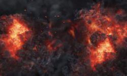 在烟雾火团中爆裂而出的标志特效