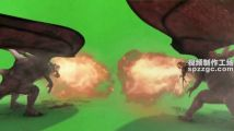 喷火龙着地喷火绿屏素材绿幕素材抠像