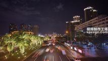 城市夜景延时摄影街景流光海南海口