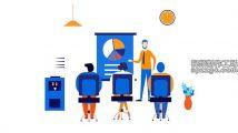 手绘蓝色企业商务插画主题设计元素