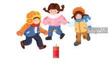 手绘中国风小孩放鞭炮庆新年元素