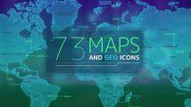 约73个世界国家或区域的地图和地理图标素材
