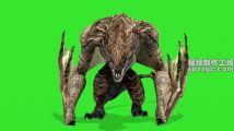 怪兽蝙蝠飞行落地绿屏素材绿幕素材