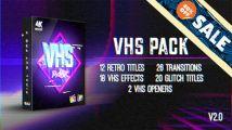 FCPX插件:八十年代复古录像机效果转场文字标题特效 VHS Pa...