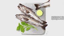 手绘新鲜鱼美食菜肴原料设计元素