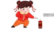 中国风喜庆新年小孩放鞭炮设计元素