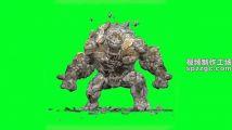 巨石人从地下爬起绿屏素材绿幕素材